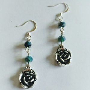 Silver Roses w/ Blue Glass